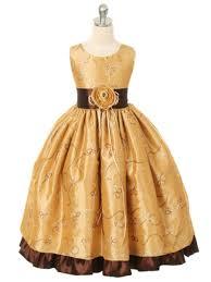 god brown fancy embroidery taffeta flower dress