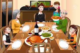 a illustration of happy family a thanksgiving dinner together