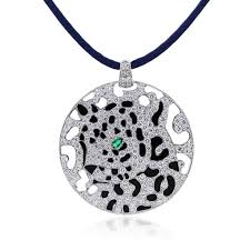 cartier diamonds necklace images Cartier 18k gold diamond onyx emerald panther pendant necklace jpg