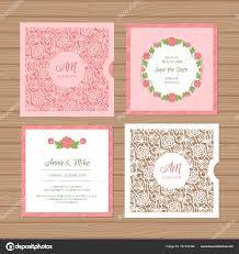 wedding invitation or greeting card with flower ornament cut