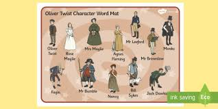 oliver twist character word mat oliver twist character word
