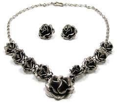 sterling silver necklace set images Vintage sterling silver taxco mexico rose jewelry set jpg