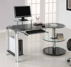 White Glass Computer Desk Pc Table Home Office Surripui Inside
