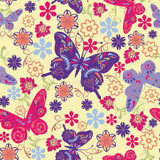 butterfly and flower seamless pattern illustration stock vector