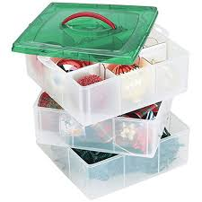 plastic ornament storage container 3 stackable snap