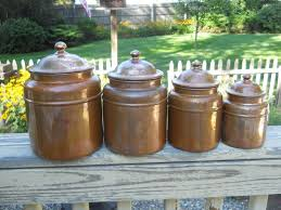 copper kitchen canister sets 9 5in tallest one copper canister set revere ware brass
