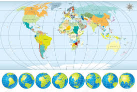 World Map Hemispheres by World Map With Globes Detailed Editable Vector Include All