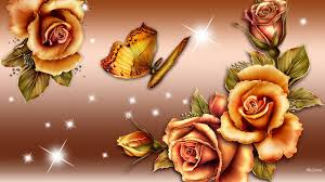 flowers butterfly beautirful roses shine gold gradient bronze