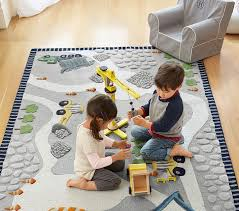 Childrens Play Rug by Construction Rug Pottery Barn Kids