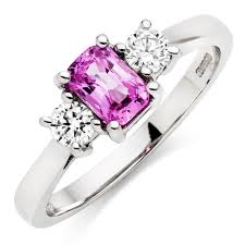 18ct white gold diamond amethyst 18ct white gold diamond and pink sapphire ring 0000080