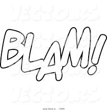 vector of a cartoon blam word text coloring page outline by