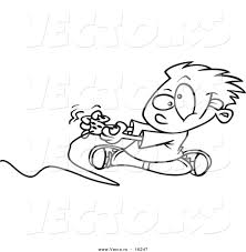 vector of a cartoon boy playing a video game with a controller