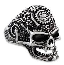 steel skull rings images Steel mechanical skull ring gif