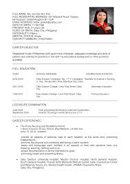 Resume Samples For Registered Nurses by Filipino Nurse Resume Sample Resume For Your Job Application