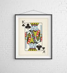 king of clubs playing card art game room decor game room art