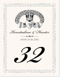 celtic silver claddagh ring irish wedding table number cards
