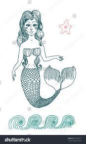Mermaid Fairy Vector Graphic Drawing Fairy Mermaid Long Stock Vector 357223724