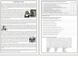 a brief history of tattoos reading comprehension worksheet