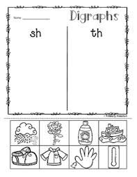 no prep digraphs picture sorting activity sheets ch sh th