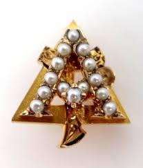 vintage 10k gold seed pearls alpha gamma delta sorority pin sold
