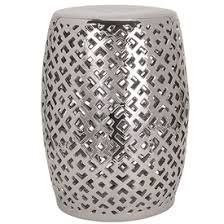 Ceramic Side Table Silver Garden Stool Silver Ceramic Stools Silver Porcelain