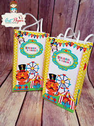 personalized party favor bags personalized party bag circus fisher price with name set of 10