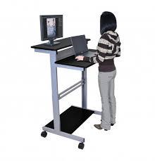 stand up l with shelves stand up workstation black capt pinterest desks regarding computer