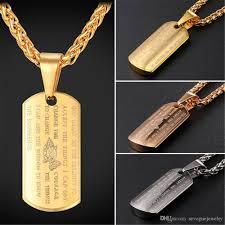 gold dog pendant necklace images Gro handel edelstahl dog tag anh nger mit bibel und kreuz jpg