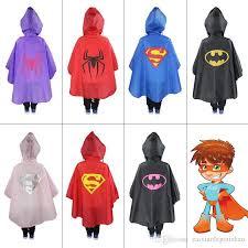 Halloween Costumes Kids Superhero 2017 Kids Superhero Raincoat Superman Spiderman Rain Coat