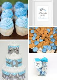 inspirations blue and gray elephant baby shower sweet pea paperie