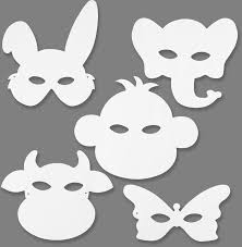 animal masks colour white card pk16 kidzcraft