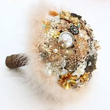 brown u0026 gold vintage bridal brooch bouquet feathers decorated