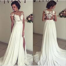 bridal gowns ivory chiffon lace wedding dresses cheap a line