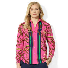 plus size silk blouse lyst by ralph plus size equestrianprint silk shirt