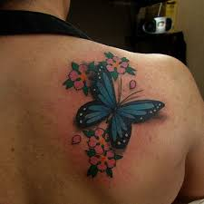 flower butterfly tattoos on shoulder pictures to pin on pinterest
