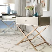 simple modern mirrored accent table with drawer and stainless