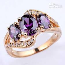 gold rings stones images 2018 women 39 s 3 egg stone purple amethyst gold finish s925 sterling jpg