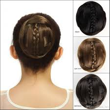black hair bun 60g synthetic hair buns chignon with braiding black brown