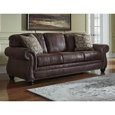 ashley breville faux leather sofa in espresso 8000338
