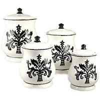black ceramic kitchen canisters kitchen canister set black white 4 holstein cow calves