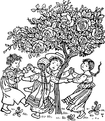 clipart kids and a tree