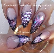 sculptured acrylic with indigo aquarius lavender violet glitter