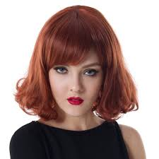 cheap 2016 new korean hair fluffy oblique bangs wine red wig wig