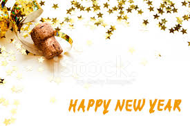 new years streamers happy new year golden confetti streamers chagne cork isol
