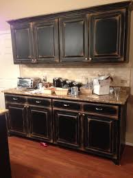 Distressed Kitchen Cabinets Black Cabinets With Faux Distressing Used 3 Different Colors Of