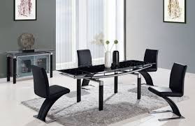 Modern Black Dining Room Sets by Black Modern 88 Dt Dining Table W Black Glass Top U0026 Options