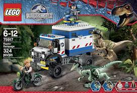 jurassic park car toy amazon com lego jurassic world raptor rampage 75917 building kit