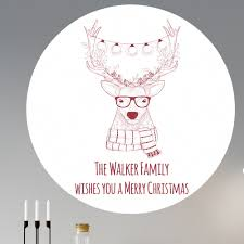 personalised christmas hipster reindeer wall sticker personalised christmas hipster deer wall sticker