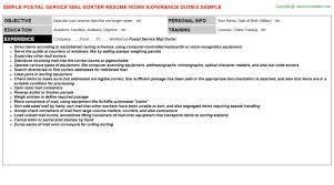 Postal Clerk Resume Sample by Postal Service Mail Sorter Job Title Docs