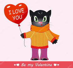 cute cartoon black cat sweater with a scarf happy valentine u0027s day